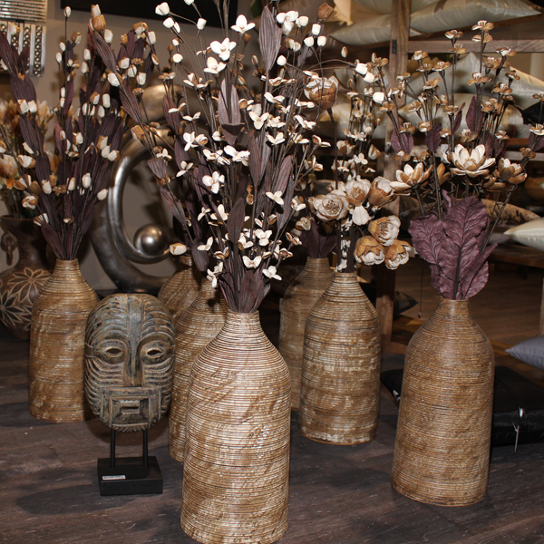 Details Zu Deko Bodenvase Holz 75cm Hoch Weià Mangoholz ...