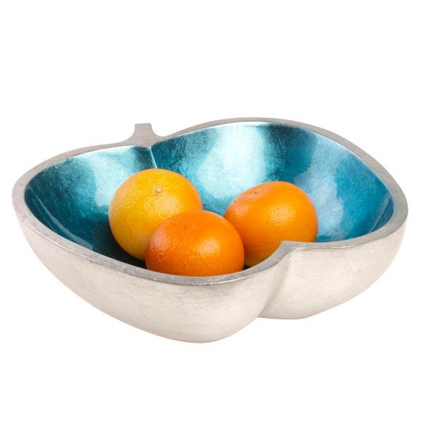 schale mango holz lackiert apfel hellblau silber. Black Bedroom Furniture Sets. Home Design Ideas
