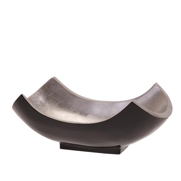 schale mango holz lackiert gebogen gro silber schwarz livingapart. Black Bedroom Furniture Sets. Home Design Ideas